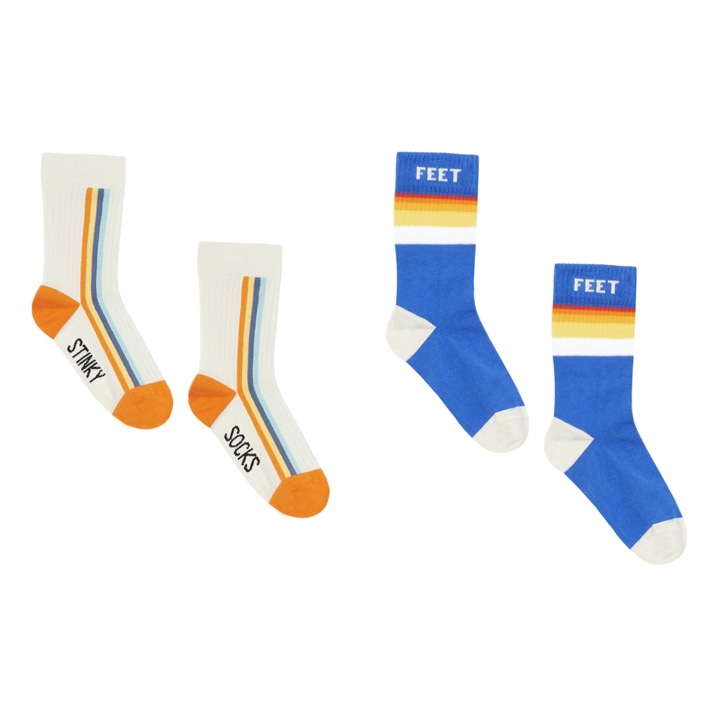 hundred pieces funky stinky sock set white, fun and cool kids socks for boys and girls at kodomo boston, fast shipping