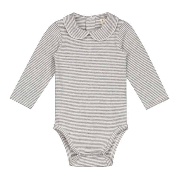 gray label baby onesie with collar grey melange/cream stripe - kodomo