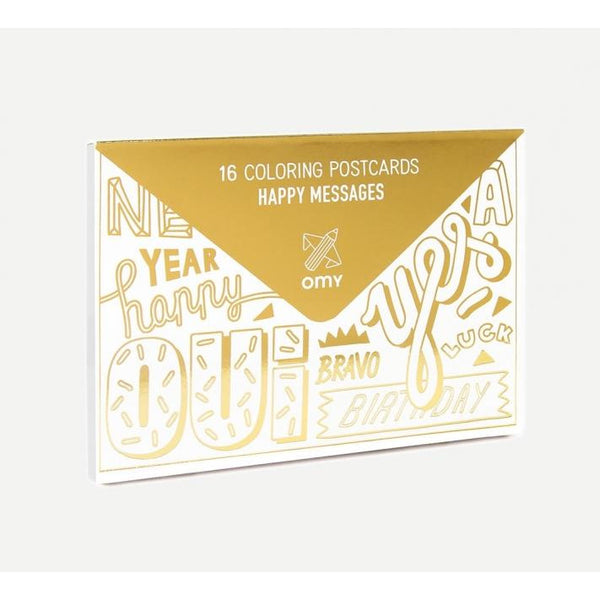 omy happy messages postcards, fun customizable greeting cards for kids, art projects free shipping kodomo boston