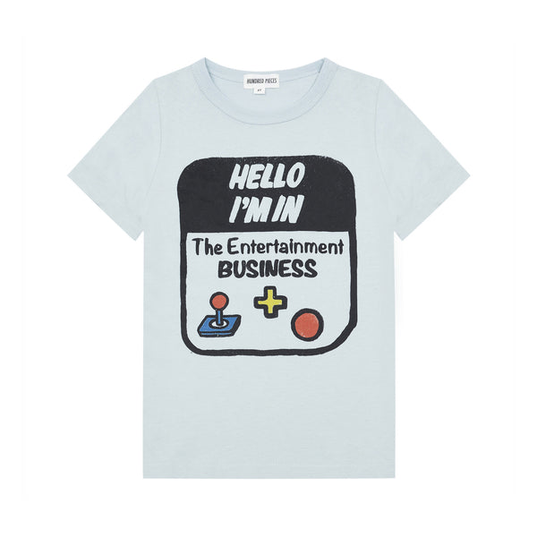 hundred pieces hello I'm t-shirt grey, fun graphic tees for kids and tweens spring summer at kodomo boston, fast shipping