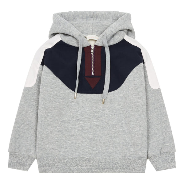 simple kids hoodie sweatshirt grey, european children's designers at kodomo boston free shipping