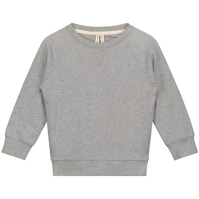 gray label crewneck sweater grey melange - kodomo