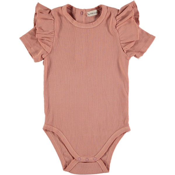 my little cozmo ingrid baby bodysuit peach - kodomo boston, fast shipping, baby organic clothes, baby solid color onesies
