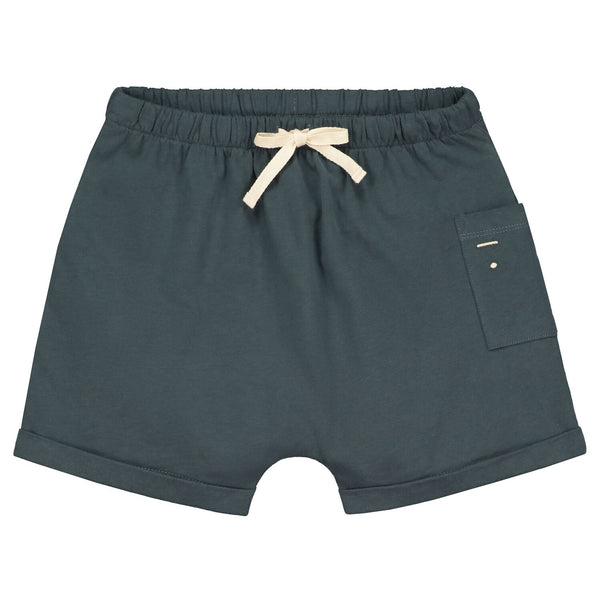 gray label one pocket shorts blue grey - kodomo boston, free shipping, organic cotton kids bottoms.