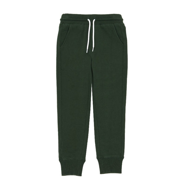hundred pieces slim joggers bottle green, kids unisex bottoms, tapered sweatpants