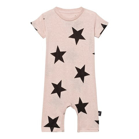 nununu powder pink star playsuit - kodomo baby onesies/playsuits - children's clothing in boston, nununu - bobo choses, atsuyo et akiko, belle enfant, mamma couture, moi, my little cozmo, nico nico