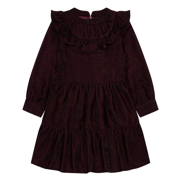 simple kids leo ruffle dress berry, special occasion kids dresses at kodomo boston free shipping