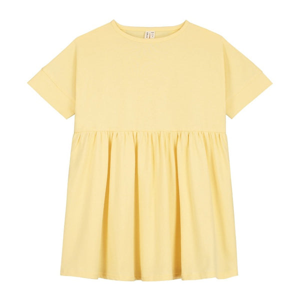 gray label loose fit dress mellow yellow, girl's organic cotton dresses