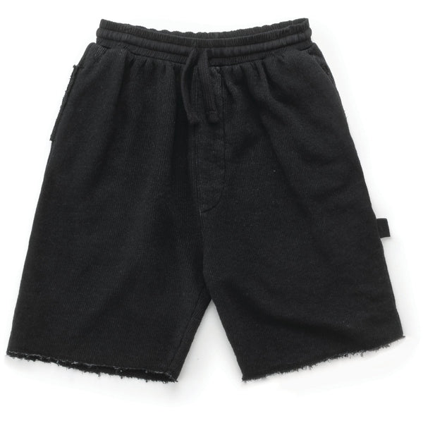 nununu bermuda sweatshorts dyed black - kodomo boston, free shipping.