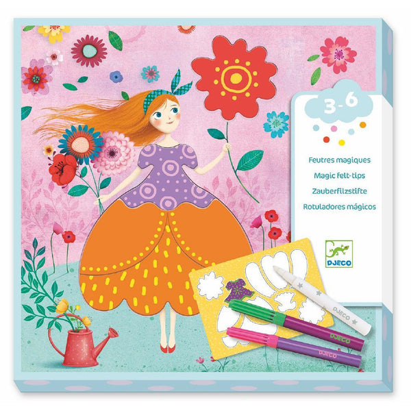 djeco marie's pretty dresses magic felt tip, kid's arts and crafts