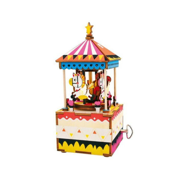 hands craft diy 3d wooden puzzle music box - merry-go-round, arts crafts projects for children families