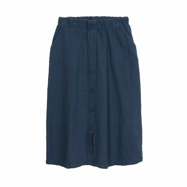 barn of monkeys skirt dark blue, ethical and comfortable girls skirts and clothing for spring summer 2020 at kodomo boston, free shipping