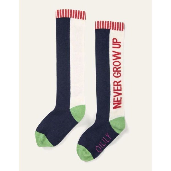 oilily mokum knee socks never grow up navy, unisex kid's socks
