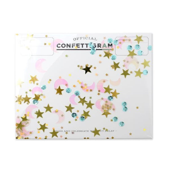 inklings paperie to the moon confettigram, fun cards stationary
