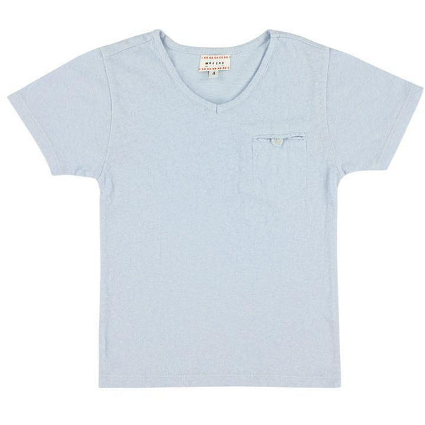 morley loyd cloud v neck tee in light blue with chest pocket. sustainable fashion available at kodomo boston.