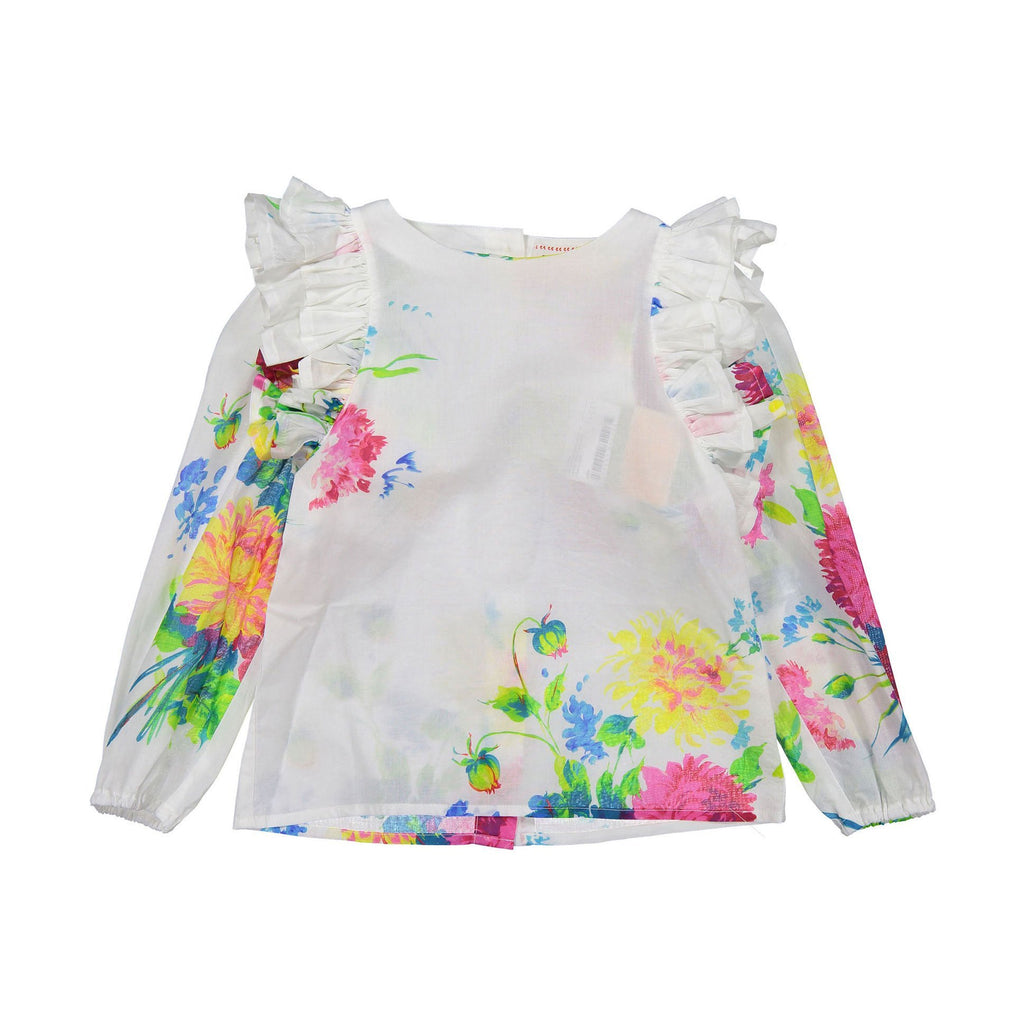morley lara big flores top in white with floral print, featuring delicate ruffled shoulders. new morley summer available at kodomo boston.