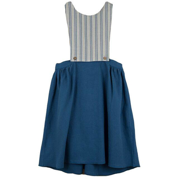popelin new spring summer girls collection blue removable and reversible bib dress - free fast shipping on all orders over $99 from kodomo