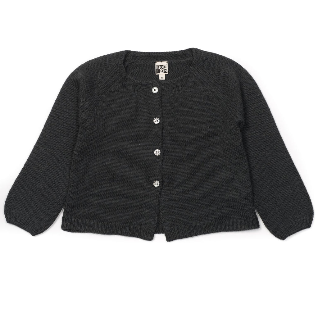 bonton cardigan charcoal - kodomo baby tops - children's clothing in boston, bonton - bobo choses, atsuyo et akiko, belle enfant, mamma couture, moi, my little cozmo, nico nico