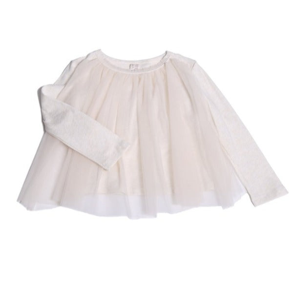 tia cibani classic tulle overlay t-shirt opal, girls pullover tops white