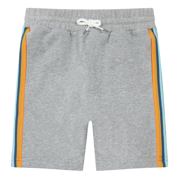 hundred pieces organic cotton multicolor striped shorts grey, boys and tweens shorts for spring summer from kodomo boston, free shipping