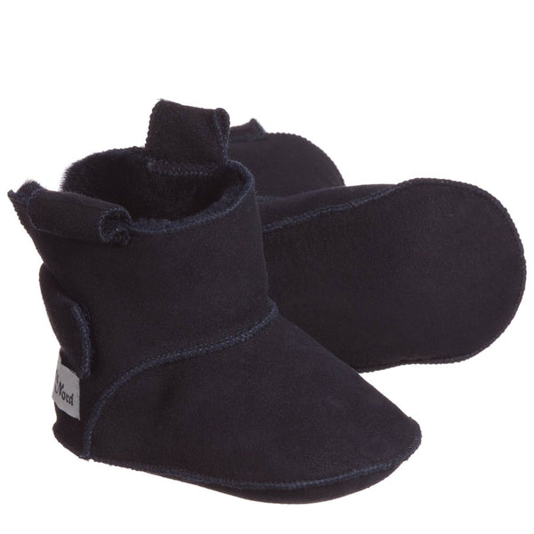 petit nord booties with velcro navy - kodomo boston