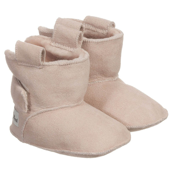 petit nord booties with velcro pale rose - kodomo boston