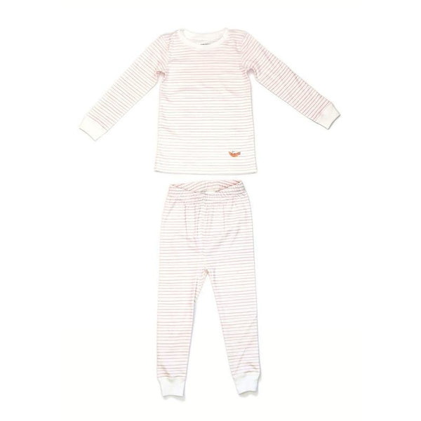 dodo banana pajama set pink stripe, children's sustainable loungewear sets