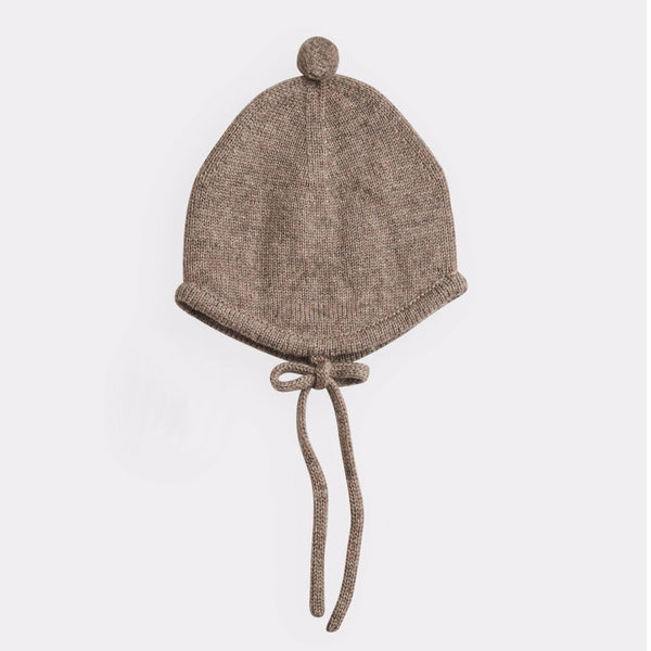 belle enfant pompom bonnet mid-brown marl, new fall winter knit cold weather accessories hats for babies kids at kodomo boston free shipping