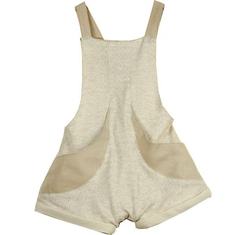 popelin beige fisherman's short dungarees - kodomo boston