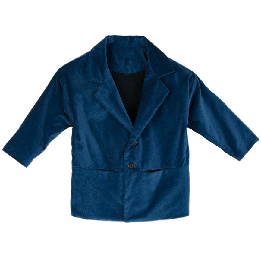 popelin blue coat with lapel