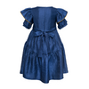 paade mode viscose queen dress mira blue, girls dresses, princess style layered ruffles with bow ribbon tie