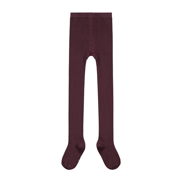 gray label ribbed tights plum - kodomo boston