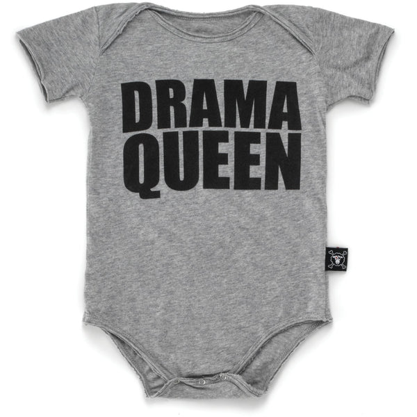 nununu drama queen onesie heather grey - kodomo boston, free shipping.