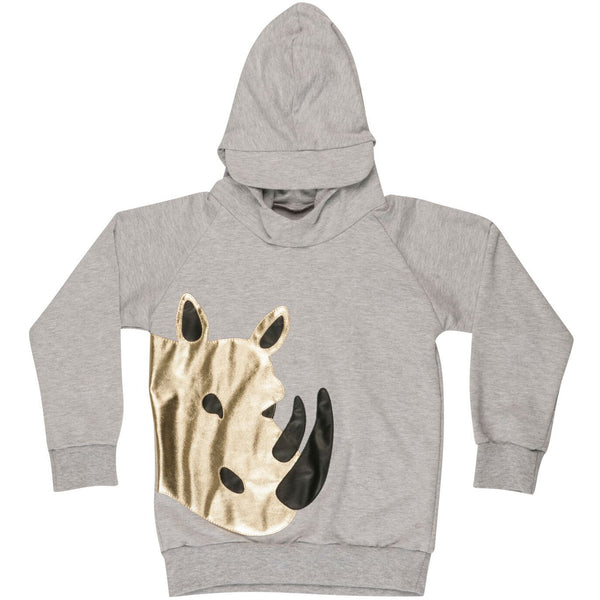 wauw capow by bangbang copenhagen new spring summer kids collection safari hoodie in grey melange - free fast shipping on all orders over $99 from kodomo