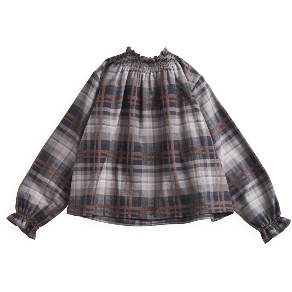 belle enfant sabine blouse grey/brown, belle enfant new collection at kodomo boston, free shipping