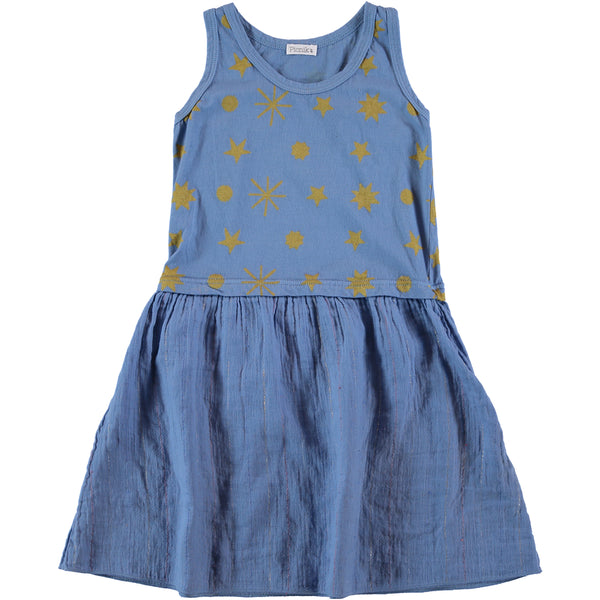 picnik sleeveless dress blue with gold - kodomo