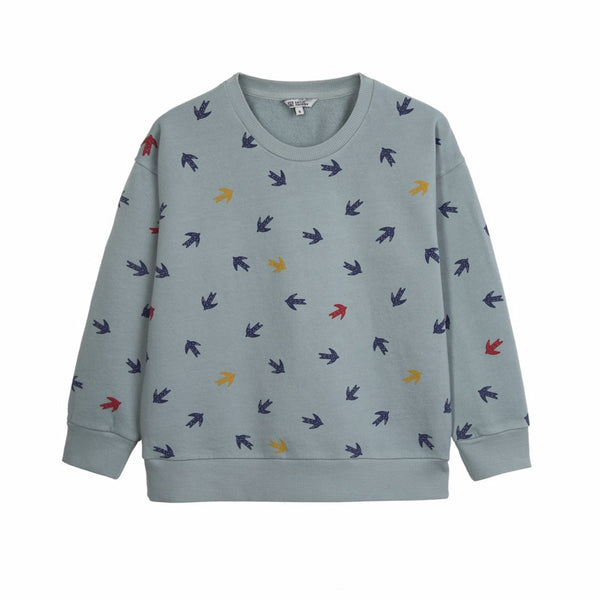 barn of monkeys swallow sweatshirt stone, ethical and comfortable kids clothing for spring summer 2020 at kodomo boston, free shipping