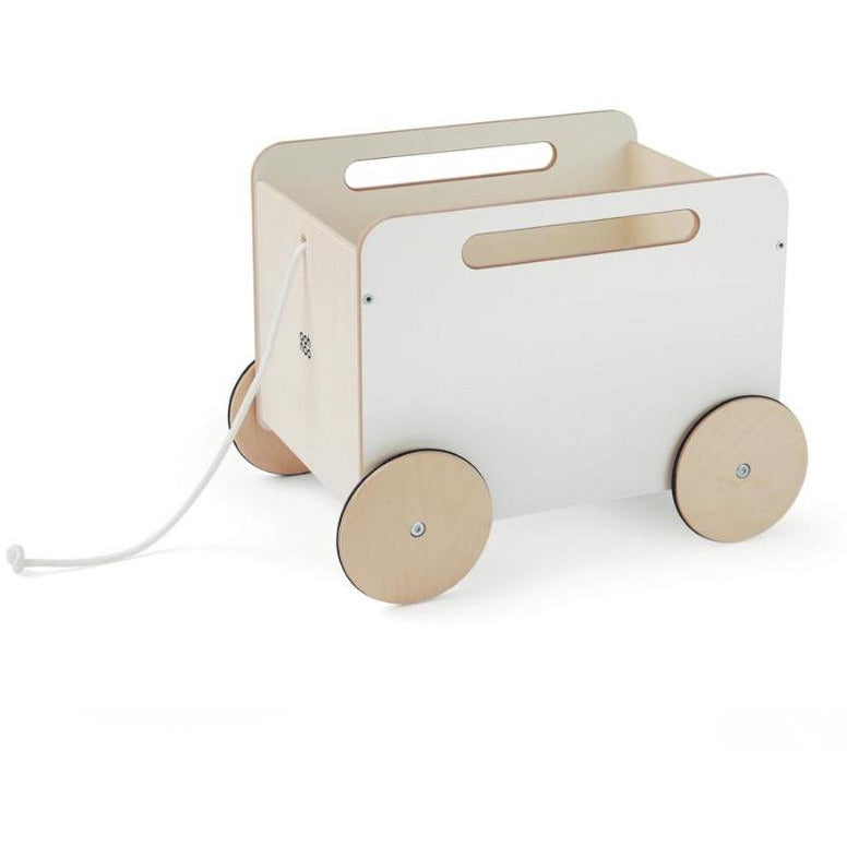 ooh noo white toy chest on wheels, kid's wooden storage furniture