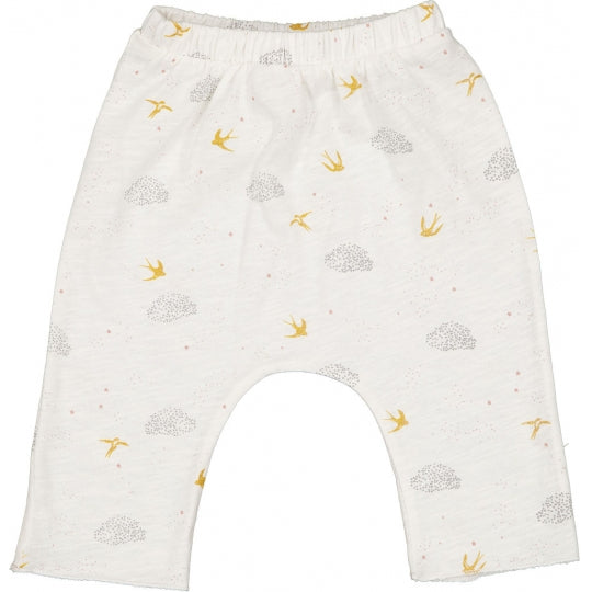 louis louise savane trousers jersey birds vanilla, ethical baby clothing for spring summer at kodomo boston, free shipping