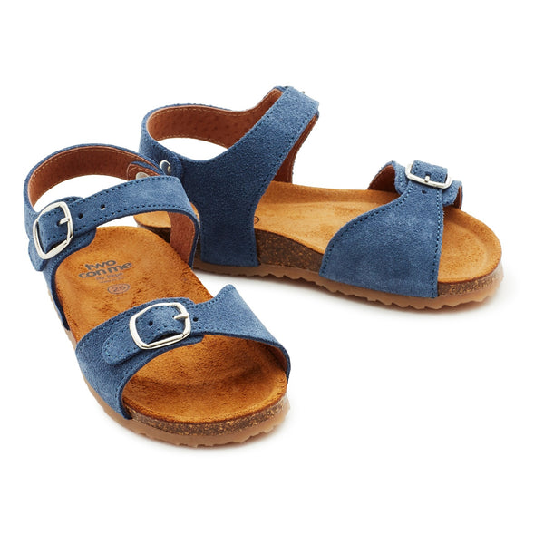 pèpè two con me - buckle sandals denim blue, free shipping kodomo bostoon