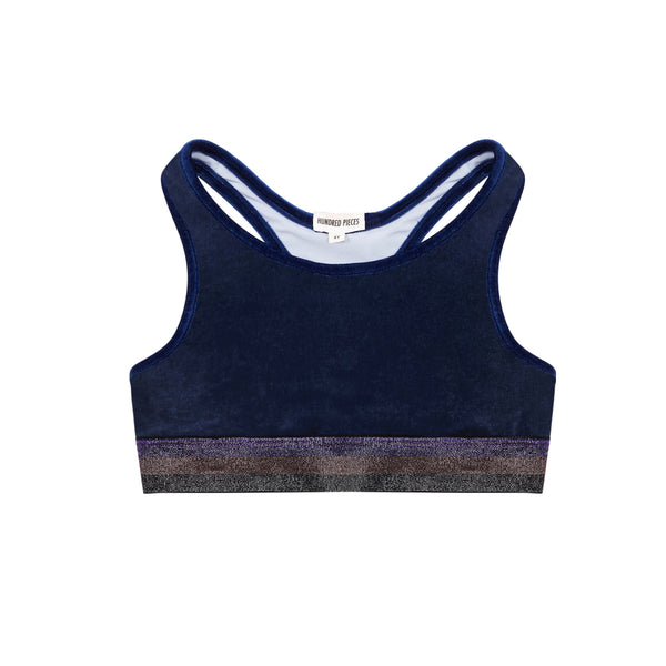 hundred pieces velour bralet midnight blue, dance and yoga wear for kids at kodomo boston