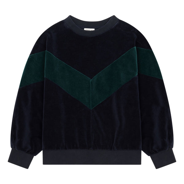 hundred pieces velour sweatshirt chrome green. cool kids clothing at kodom o boston, free shipping