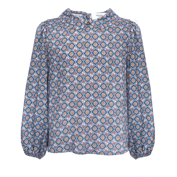 paade mode viscose blouse sage grey, girls fashion tops, peter pan collar all over print