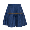 paade mode viscose skirt mira blue, girls bottoms, shiny texture navy with yellow