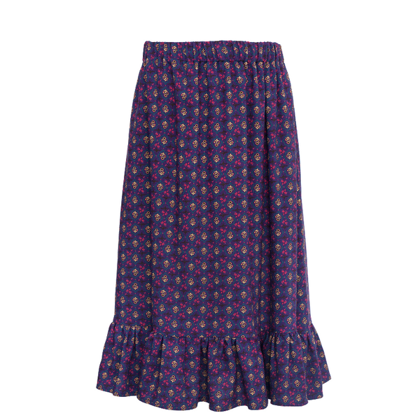 paade mode viscose skirt sage purple, girls bottoms, all over patterned skirts with ruffle