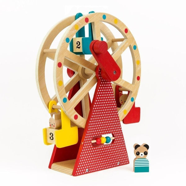 petit collage carnival play set wooden ferris wheel, kid's wood toys
