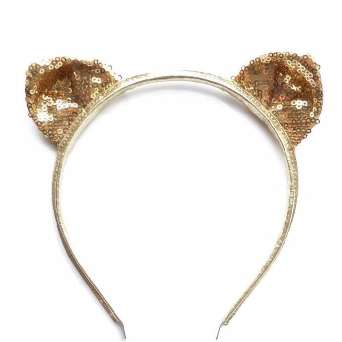 woodstock cat ears headband gold sequins - kodomo