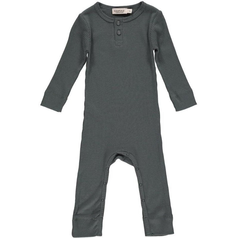 marmar copenhagen forest shadow rompy, baby playsuits, ribbed with buttons blue green