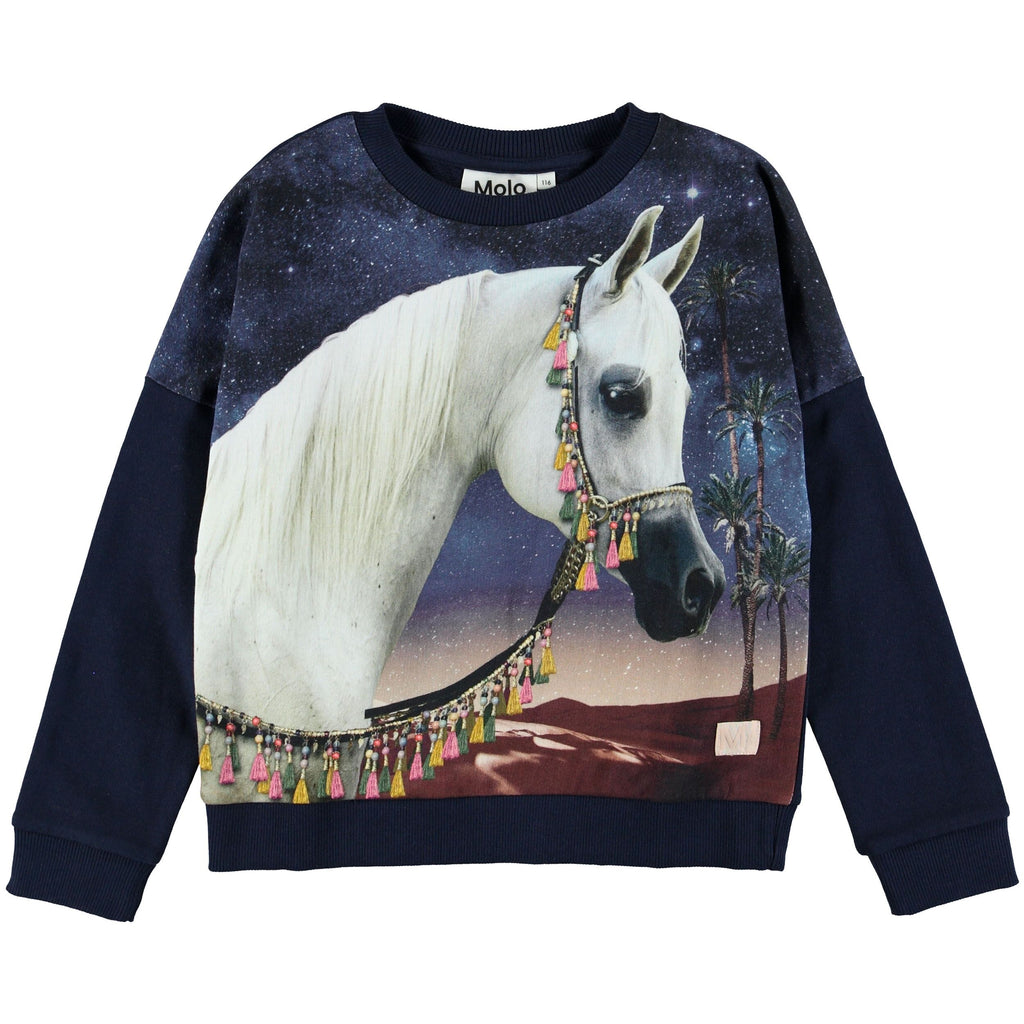 molo new fall girls collection marigold sweatshirt arabian horse - free fast shipping on all orders over $99 from kodomo