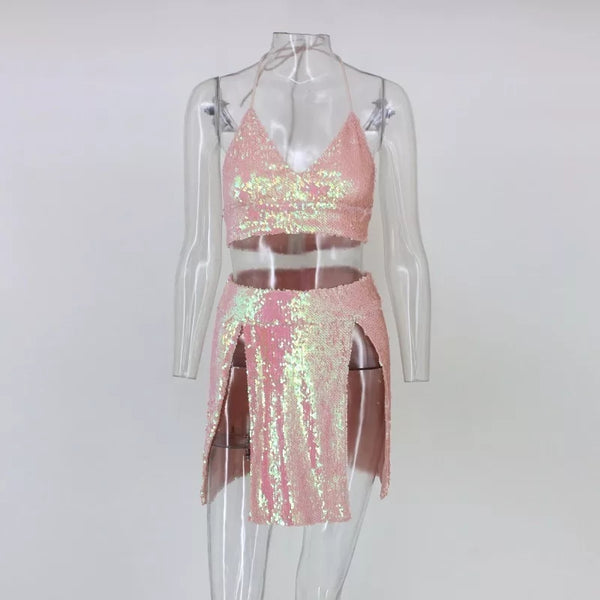 Sequin Split Two Piece